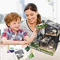 Awtang Wooden Miniature Dollhouse 3D DIY Handmade Dollhouse Kit Luxury Three-Storey Duplex Villa Miniature Kit with LED Lights, Kids Toy Gifts Home Decoration Helpful