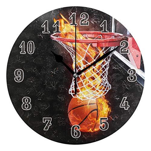 QMIN Wanduhr, abstraktes Feuer-Basketball, Sport, runde Uhr, geräuschlos, kein Ticken, leise Uhr für Schlafzimmer, Wohnzimmer, Küche, Büro, Heimdekoration