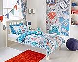 Kids infantil robots gris azul rojo juego de funda de edredón y cortinas