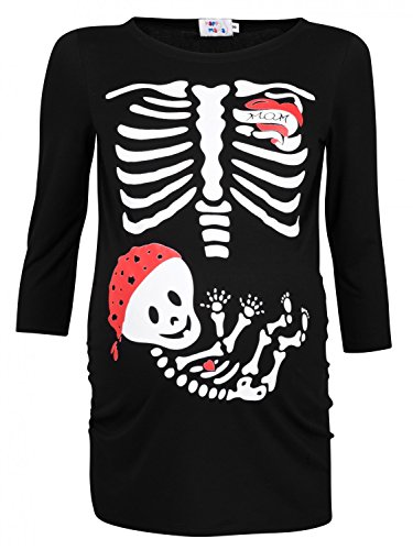 Happy Mama. Womans Maternity Tattoo Mom Baby Pirate Skeleton T-shirt Top. 574p (Black, UK 18/20)