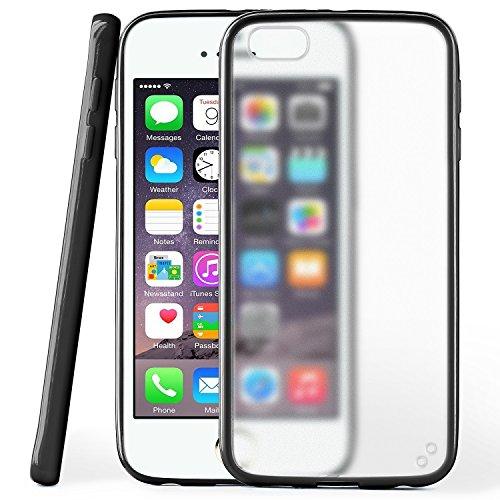 iPhone 4S Hülle Slim Transparent Türkis [OneFlow Impact Back-Cover] Dünn Schutzhülle Silikon Handy-Hülle für iPhone 4/4S Case TPU Tasche Matt DEEP-BLACK