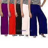 #8: Women's Malai Lycra Palazzo BLACK, WHITE, RED, NAVVY BLUE, PURPLE (Pack of 5)-Free Size