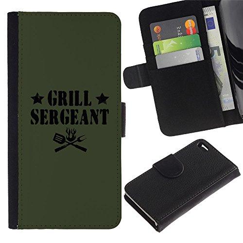 ZCell / Apple Iphone 4 / 4S / Grilling Sergeant Quote Funny Label Food / Wallet Custodia Portafoglio Snello Caso Case Cover Armor / Cuocere serge