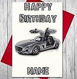 Sport Auto Mercedes personalisierbar Premium Elfenbeinfarben Geburtstagskarte