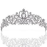 ZWOOS Diadema Corona Tiara Flor Cristal Diamante De Imitación Hairband para Fiesta Boda Novia