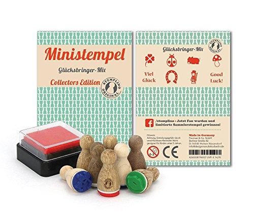 Stemplino 4260338196837 - Ministempel Glücksbringer-Mix Sammlerstempel (Stempel Kleeblatt)