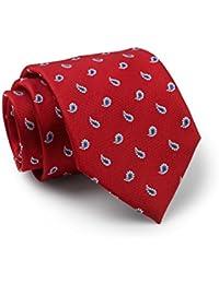 Savile Row Men's Red Blue Paisley Pattern Silk Tie