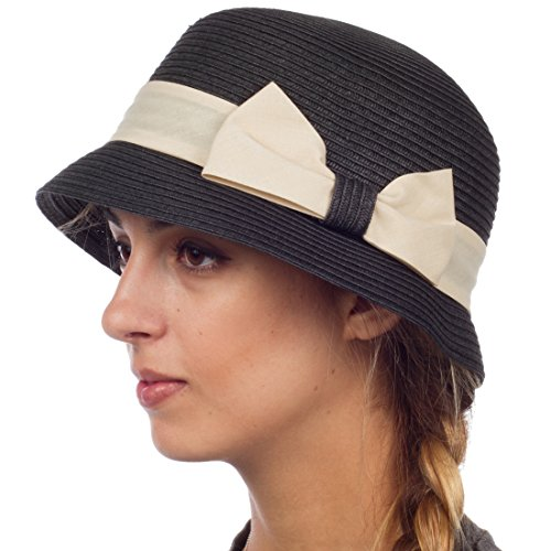 EH1641LC - Womens 100% Papier Stroh Ribbon Bogen Accent Cloche Eimer Bell Sommer Hut - Schwarz / One Size (Hut Eimer Bell)
