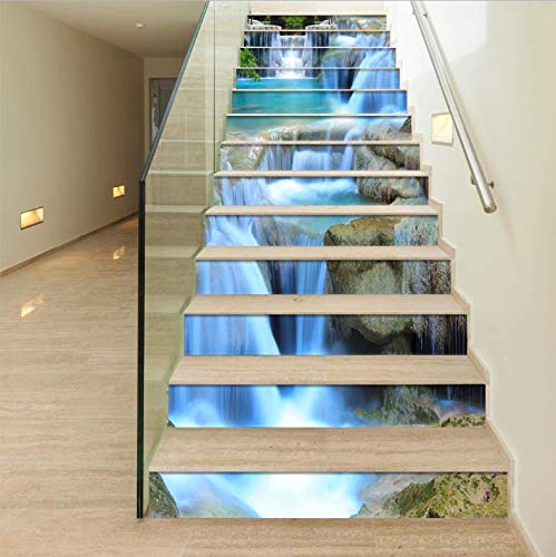 13 Teile/Set 3D Stereo Wandaufkleber Treppenaufkleber DIYPVC Treppenabziehbilder Kunst Wasserfall Kaskadenaufkleber Wasserdichte Selbstklebende Treppen Hauptdekoration 18CM*100CM (Stereo-teile)