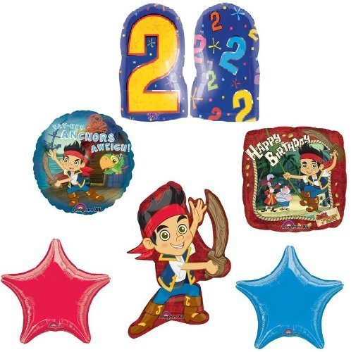 JAKE & the NEVER Land PIRATES #2 2nd Birthday Party Supplies Mylar BALLOONS Set by Lgp (Jake Y Los Piratas Party Supplies)