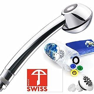 Duschkopf für Durchlauferhitzer - Handbrause druckerhöhend, wassersparend mit Massagestrahl, Regenstrahl-Aufsatz, antikalk, Schweizer Produktion, vom Hersteller