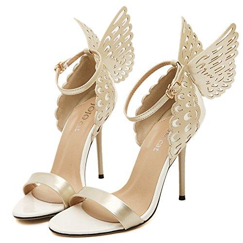 Frauen High Heels Schmetterling Sexy Pumps Offene Zehe Knöchelriemen Sandalen Kleid Party Abendschuhe,Nude-EU37/235