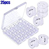 lzndeal 25Pcs Empty Bobbins Sewing Machine Spools Clear Plastic with Case Storage Box for Brother Janome Singer Elna