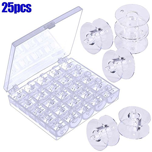 Ohwens 25pcs bobine vuote macchina da cucire spools plastica trasparente con scatola portaoggetti per brother janome singer elna