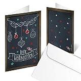 10 Stück gleiche Weihnachtskarten FROHE WEIHNACHTEN schwarz weiß rot Tafelkreide vintage retro Look 10,5 x 14,8 cm MIT Kuvert für Geschäftskunden Kunden Karten weihnachtlich