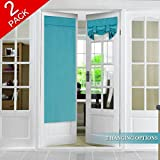 FlamingoP Tricia Window Door Curtains, Teal Blackout Curtain Rod Pocket, 2 Panels, 26