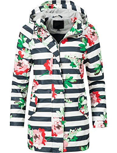 Peak Time Damen Allwetter Jacke Regenmantel L60017 Red Flowers Gr. - Peak Frauen Mantel