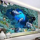 Benutzerdefinierte 3D Bodenbelag Fototapete Dolphin Unterwassersee Cave Stereo Pvc Selbstklebende Wandvinyl Boden Decor Tapete Wasserdicht, 250X170 Cm,DDBBhome