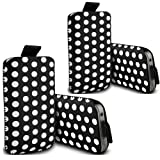 ONX3 ® - TWIN PACK - Huawei Ascend W2 Polka PU Leather Pull Tab Protective Pouch Cover Skin Case (Black)