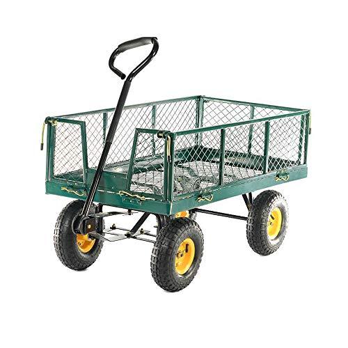 LeMeiZhiJia Bollerwagen Gartenwagen Handwagen Herausnehmbare Plane Transportwagen Handkarren für Gärten Pflanzen Obst Waren (Max 300kg)