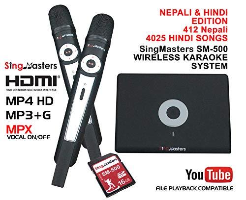 SingMasters Nepali + Hindi Karaoke-Spieler, 412 + Nepali-Lieder, 4025 + Hindi-Lieder, Dual-Funkmikrofone, Youtube kompatibel Hindi Magic Sing, HDMI, Songaufnahme, Karaoke-Maschine.