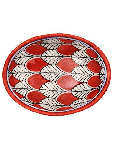 Tranquillo Seifenschale roter Pfau aus handbemalter Keramik mit Löchern für den Wasserablauf 13 x 9,5 x 2 cm Pfau Keramik