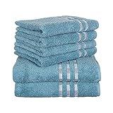 Delindo Lifestyle Handtuch-Serie COLARES sea Blue - türkis, 6-Teiliges Handtuch Set, 2 Badetücher und 4 Handtücher, 100% Baumwolle
