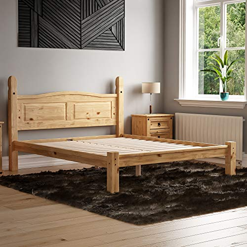 Vida Designs Corona King Size Bed, 5 ft, Low Foot End Bed Frame, Solid Pine Wood