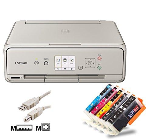 Canon PIXMA TS5053 Tintenstrahl-Multifunktionsgerät Bundle mit 10 kompatiblen Patronen + USB-Kabel (A4, 3-in-1, USB, WLAN, Cloud) Originalpatronen nicht im Lieferumfang