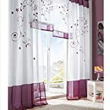 SIMPVALE Lot DE 2 Rideaux Voilages Broderie a Pattes pour Chambre Largeur 140cm Violet Hauteur 225cm