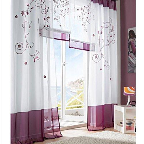 Simpvale 2 pezzi pastorale ricamo finestra tende per soggiorno e camera da letto, violet, 140cm(larghezza)x225cm(lunghezza)