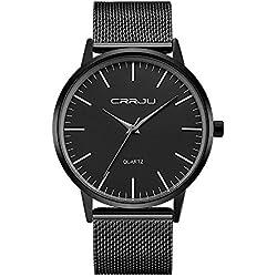 CRRJU Men's Wrist Watches Business Men's Quartz WristWatch 3ATM Daily Water Resistant Alloy Mesh Strap Wristwatch for Man