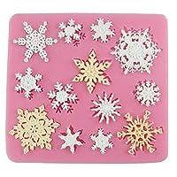 Beiersi Christmas Snowflakes Silicone Mold Fondant Cake Icing Sugarcraft Decorating Mould Tools (Style 4)