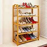 Livzing 5-Tier Multiuse Bamboo Wooden Shoe Rack Slipper Stand Chappal Shelf Household Storage Holder Organizer