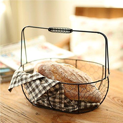 Z@SS Vintage Brotkorb Draht Essen Servieren Korb mit Griff Für Picknick und Home Storage,L