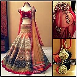 Ramapir Fashion Women'S Brocade, Velvet Lehenga Saree Lehenga Choli (Ramapir Fashion_Red_Free Size)