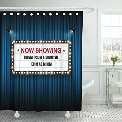 Luancrop Duschvorhang Festzelt Theater Kino Zeichen Licht zeigt jetzt Film Hollywood wasserdichtem Polyester-Stoff mit Haken