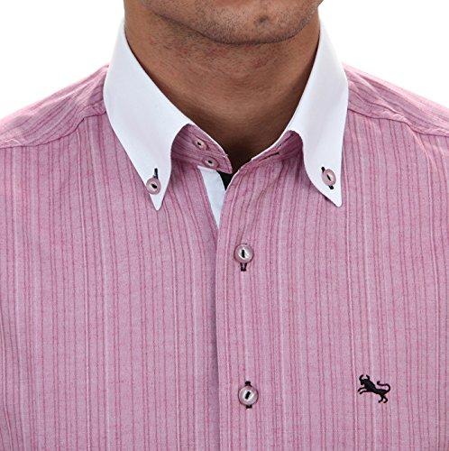 Slim Fit Freizeithemd in Helles fuchsia, für Herren BESTE QUALITÄT, HK Mandel Langarm Designerhemd, 20939 Helles fuchsia