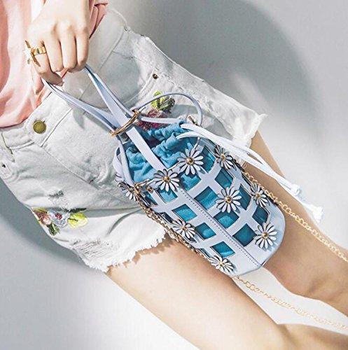 QPALZM Frau 2017 Handtasche Blume Tasche Kleine Frische Neue Einzelne Schulter Kette Eimer Tasche Messenger Bag Blue