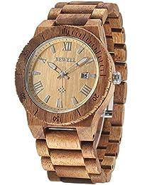 Alienwork Reloj cuarzo madera maciza natural cuarzo hecho a mano Madera de koa naranja marrón UM109B-01