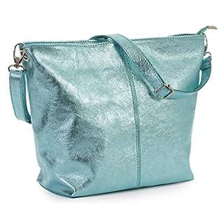 LIATALIA Hobo Shoulder Bag in Genuine Italian Leather Medium Size with Protective Storage Bag - ADAL [Metallic Aquamarine]