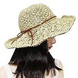 Xixihaha Sun Hats for Women Ladies Wide Brim Foldable Adjustable Summer Floppy Straw