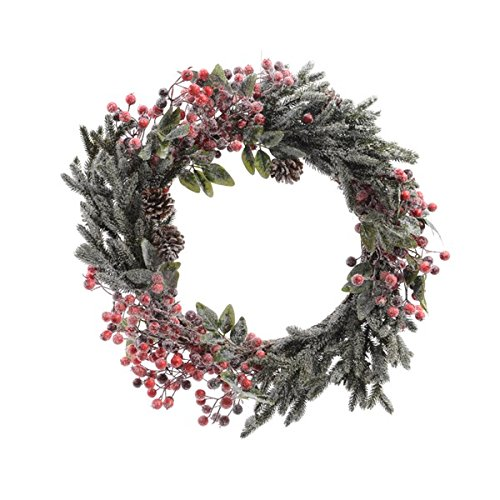 685140 Kranz mit Beeren und Zapfen, gefrostet, PE, innen, Durchmesser 40 cm