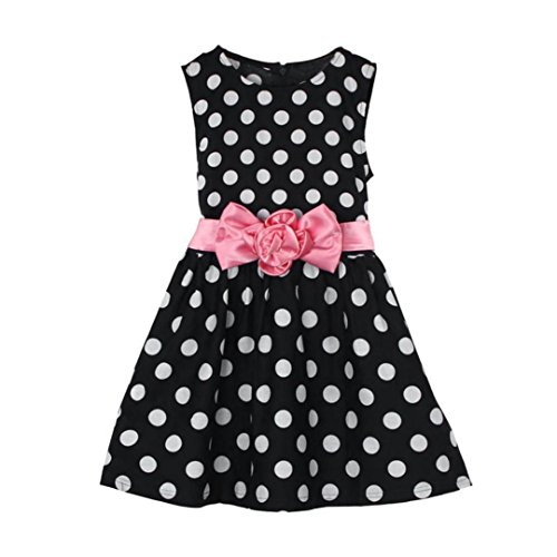 Mädchen Sommerkleid, Bekleidung Longra Kleinkind Kinder Baby Mädchen Sommer Kleidung Polka Dot Party Festzug Prinzessin Kleider(2-7Jahre) (110CM 4-5Jahre, Black) (Dot Satin-bh Polka)