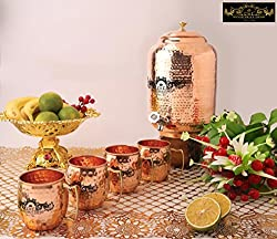 Premium Quality 10 Ltr Copper Water Dispenser with Designer Brass Knob And Four Copper Hammered barrel mugs by Crockery wala and Company, 99.5% Pure Copper matka for kitchen enhances health