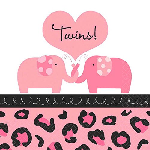 Girl Twins Baby Shower Party Beverage Napkins (36 Piece), 5 x 5 , Pink ()