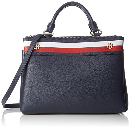 Tommy Hilfiger Damen Cool Hardware Satchel Corp Clutch, Blau (Corporate), 15.5x31x25.5 cm (Tommy Hilfiger Handtasche)