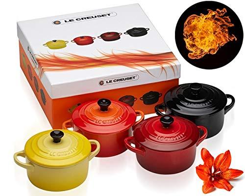 LE CREUSET Le Set di 4 Mini Cocotte in Gres smaltato, 0,2LGiallo (Soleil), Arancio, Ciliegia, Black, ghisa, Multicolore, 10 cm