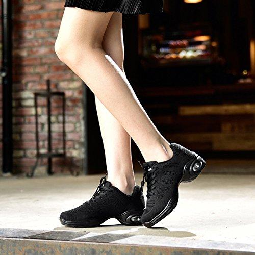 CHNHIRA Damen Sneaker Jazzschuhe Sportschuhe Tanzschuhe Schwarz