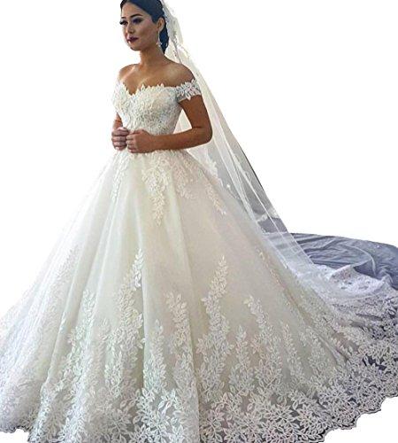 Changjie Damen Spitzen Applique Brautkleider Hochzeitskleider Prinzessin Brautkleid A Linie